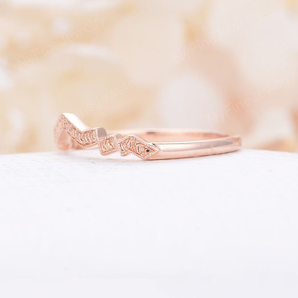 Vintage wedding band rose gold wedding Ring women Unique curved Band wave Bridal set Jewelry Anniversary matching band promise gift