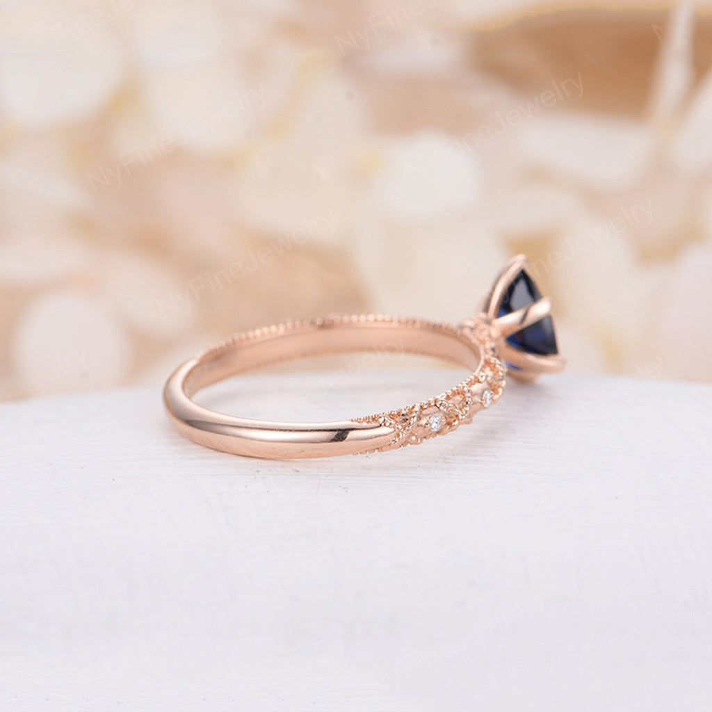 Trillion Lab Sapphire Engagement Ring Rose Gold Engagement Ring Diamond Wedding Triangle Bridal Vintage Jewelry Anniversary Gift for Women