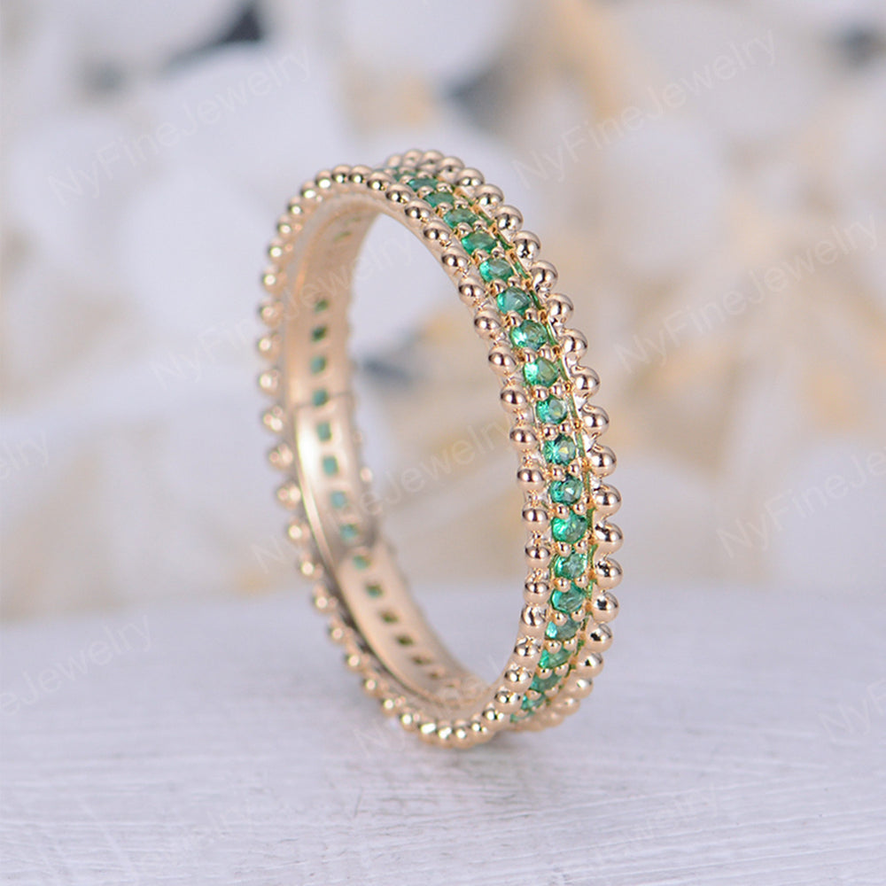 Emerald wedding band rings for women 14k yellow gold art deco eternity band Unique rings Jewelry Bridal Promise Anniversary gift for her
