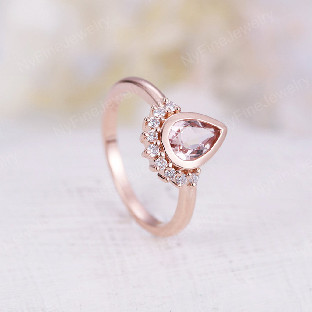 Morganite engagement ring Vintage Rose Gold Unique Engagement Ring Diamond Wedding women Bridal set Jewelry Pear Shaped Stacking Promise