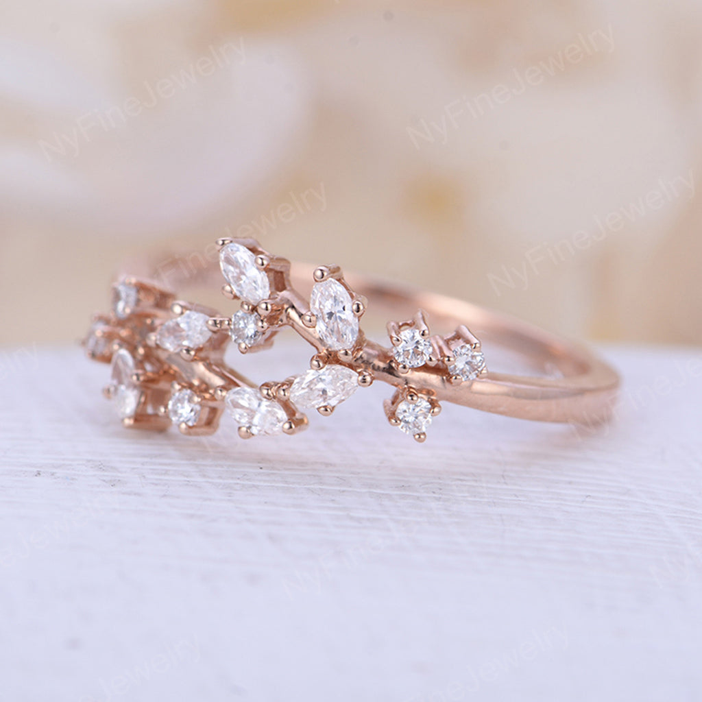Rose gold engagement ring Diamond Cluster ring Unique engagement ring Delicate leaf wedding Bridal set Promise Anniversary Gift for women