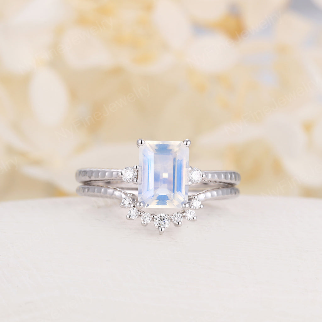 Moonstone engagement ring set white gold Diamond emerald cut Unique engagement ring vintage Curved wedding women Promise gift for her