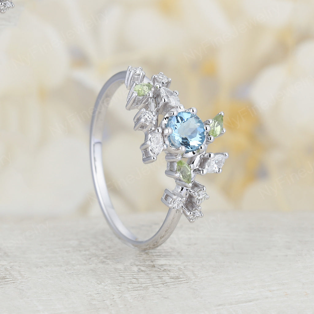 Aquamarine engagement ring white gold Unique engagement ring Diamond Cluster ring leaf wedding women Bridal set Promise Anniversary Gift