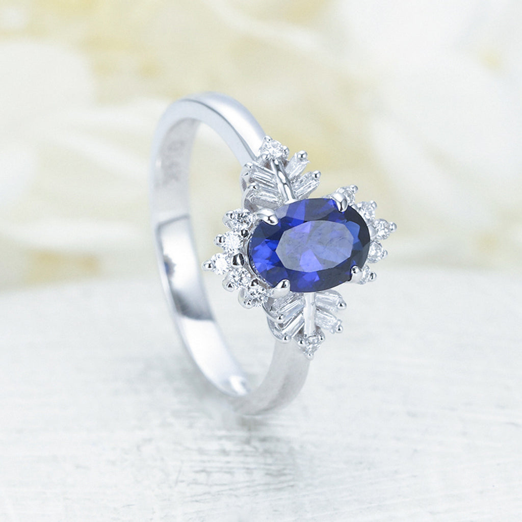 Lab sapphire engagement ring white gold vintage engagement ring Unique Oval cut Bridal Baguette diamond wedding women Anniversary gift
