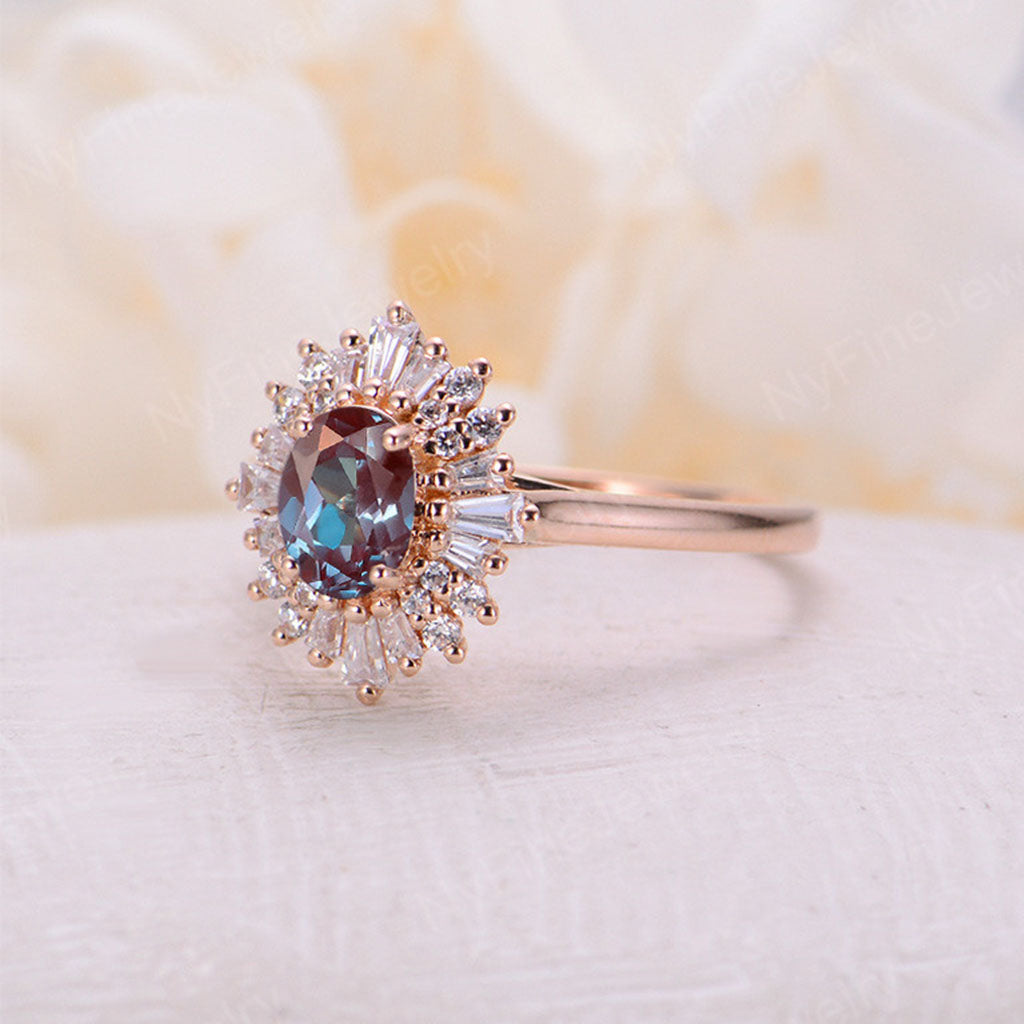 Vintage engagement ring Oval cut alexandrite ring 14k/18k solid gold diamond promise Anniversary ring