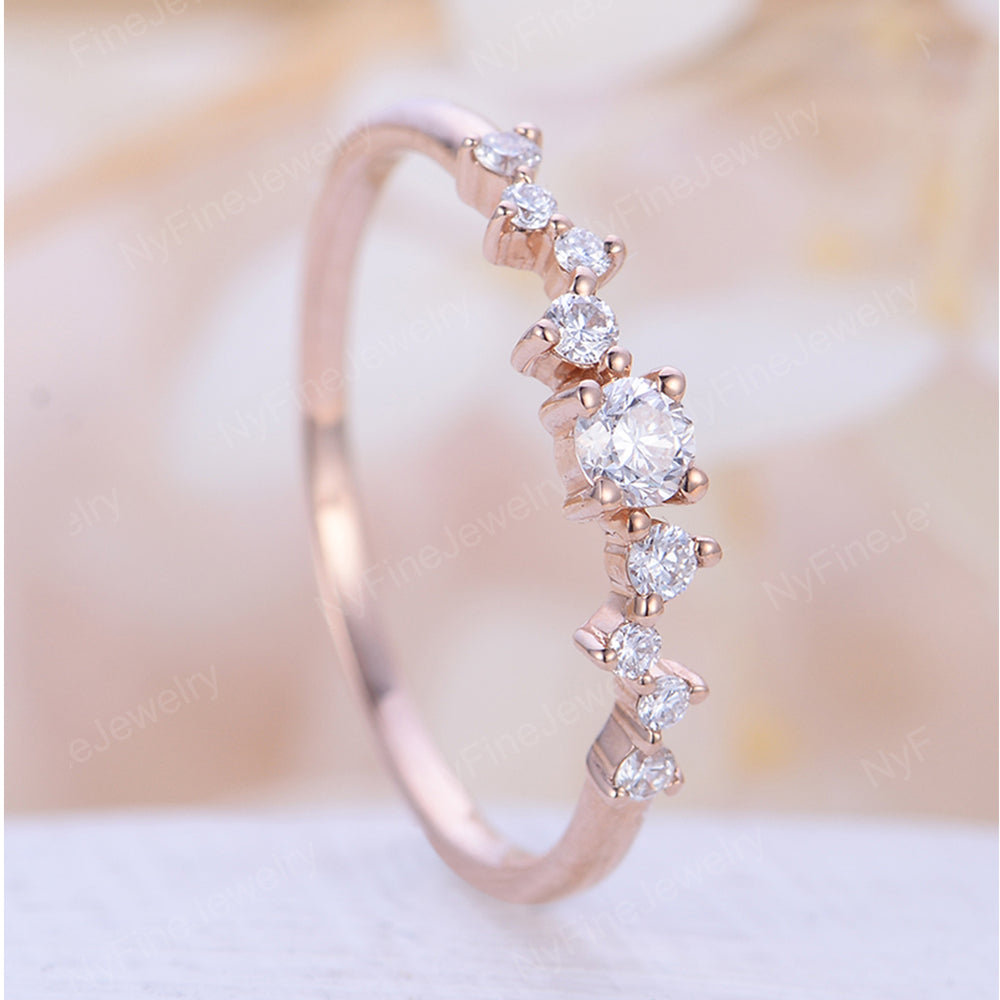 Unique Engagement Ring Rose Gold Diamond Cluster Twig Ring Wedding Women Dainty Bridal Jewelry Flower Multi stone Anniversary Promise