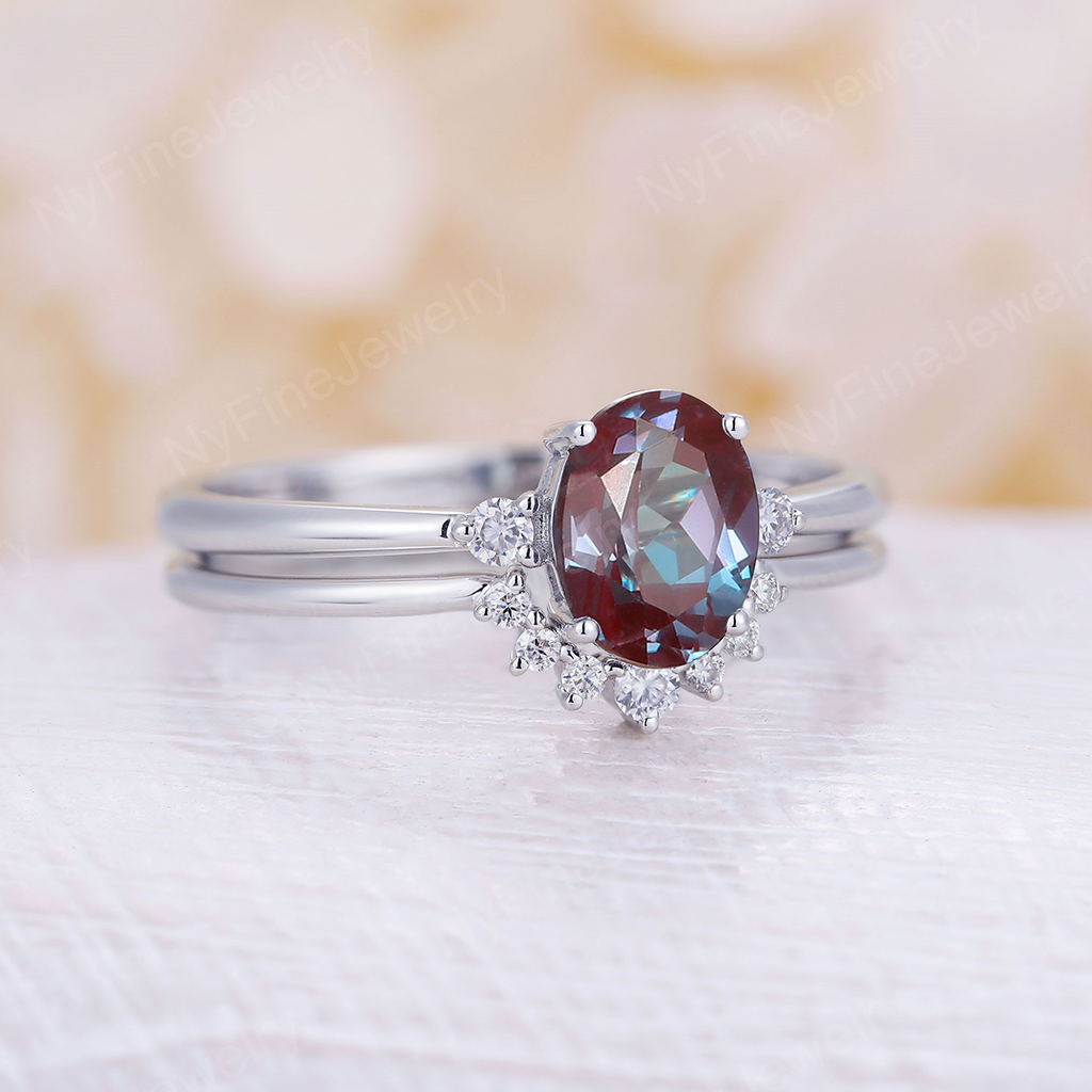 Alexandrite engagement ring set White gold Moissanite cluster ring Unique engagement ring vintage Curved Moissanite wedding set Bridal Promise
