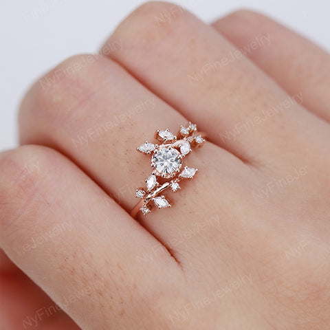 Vintage Moissanite engagement ring Diamond Cluster unique rings  art deco rose gold ring Delicate leaf wedding Promise Anniversary ring