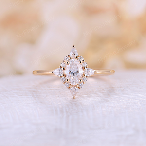 Forever One Moissanite engagement ring unique Vintage oval cut diamond yellow gold wedding Bridal birthstone Anniversary