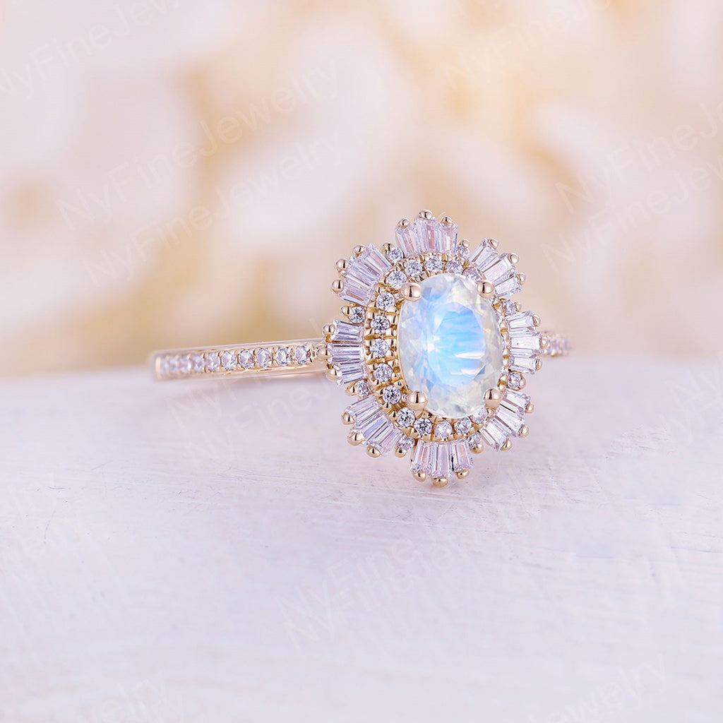 Vintage moonstone engagement ring diamond band Art deco rose gold ring wedding woman Unique Anniversary Promise