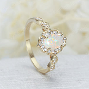 White Opal engagement ring women yellow gold Halo diamond vintage oval cut bridal set flower antique wedding Jewelry Anniversary gift for her