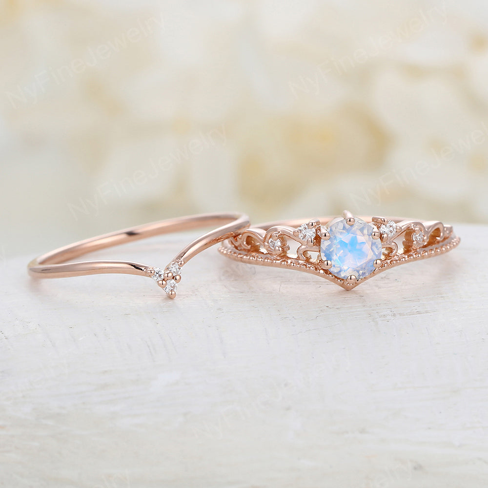 Moonstone engagement ring Vintage Round cut Art deco engagement ring rose gold Floral Unique Diamond wedding Bridal Anniversary