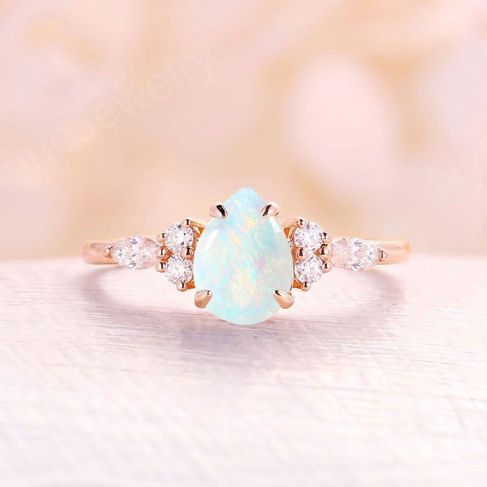 White Opal engagement ring pear cut rose gold engagement ring vintage diamond cluster ring, wedding Bridal Set Jewelry Anniversary gift for women