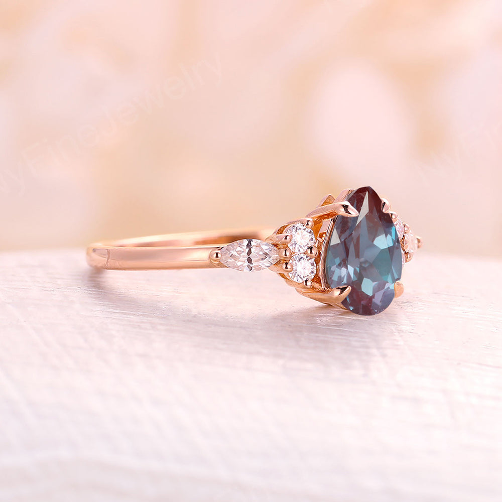 Alexandrite engagement ring pear cut rose gold engagement ring vintage diamond cluster ring, wedding Bridal Set Jewelry Anniversary gift for women