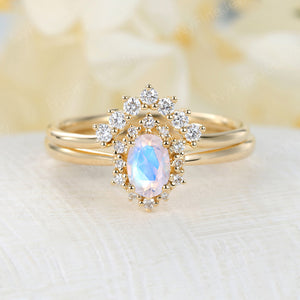 Vintage Moonstone engagement ring set Oval cut engagement ring yellow gold ring diamond ring halo wedding band Bridal set Anniversary ring