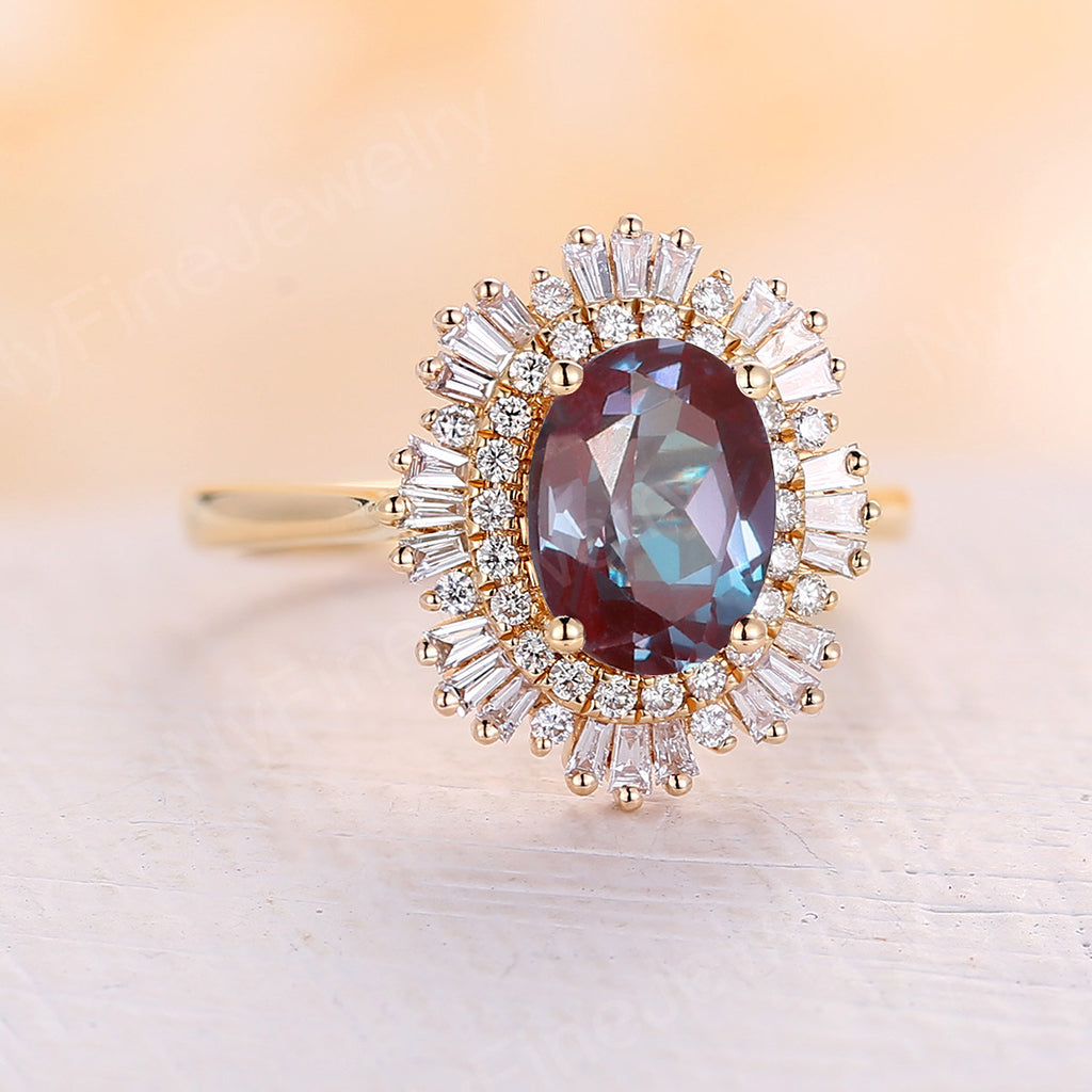 Vintage alexandrite engagement ring Oval shape yellow gold diamond ring halo ring Antique Unique alexandrite Anniversary ring Promise ring