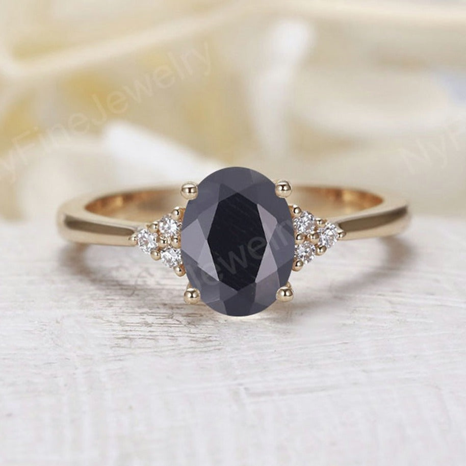 Oval black onyx engagement ring yellow gold Diamond cluster ring vintage Unique wedding  Bridal  Promise Anniversary
