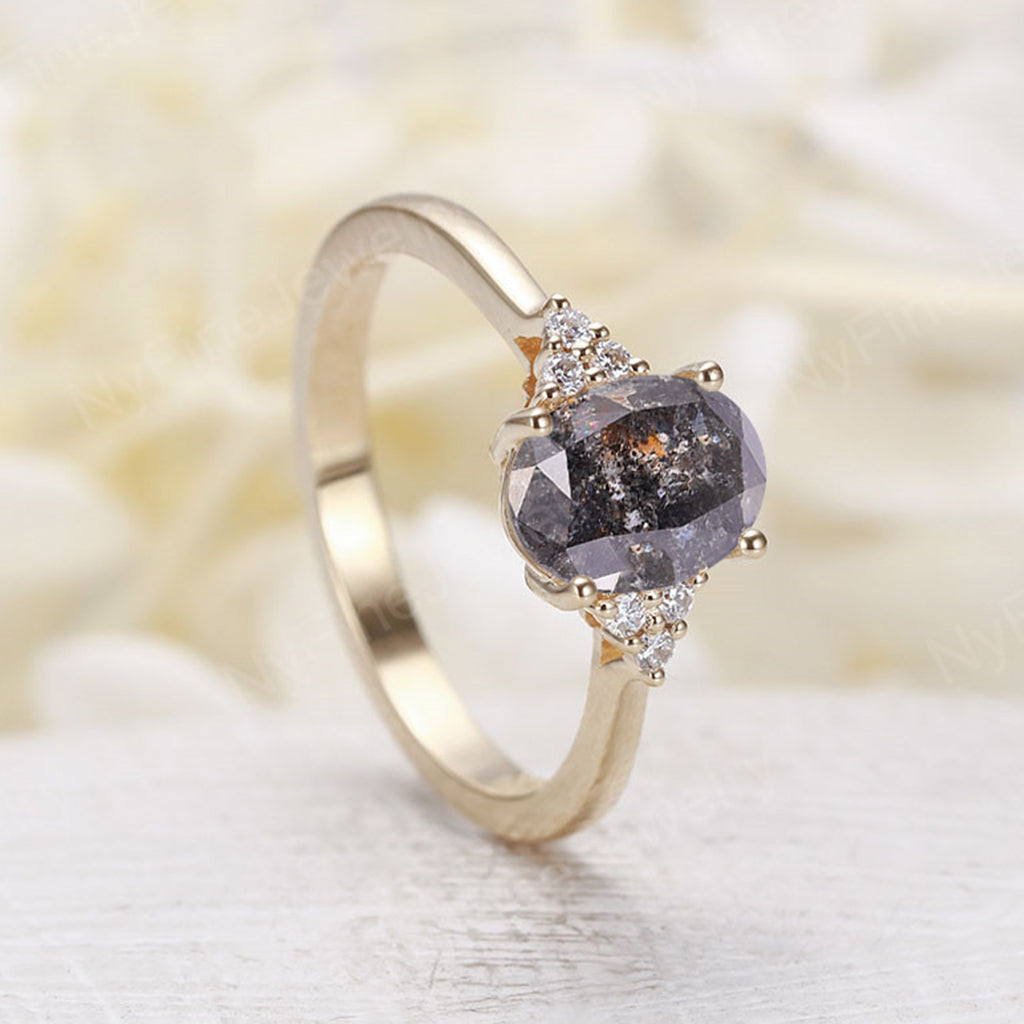 Oval salt and pepper diamond engagement ring yellow gold Diamond cluster ring vintage Unique wedding  Bridal  Promise Anniversary