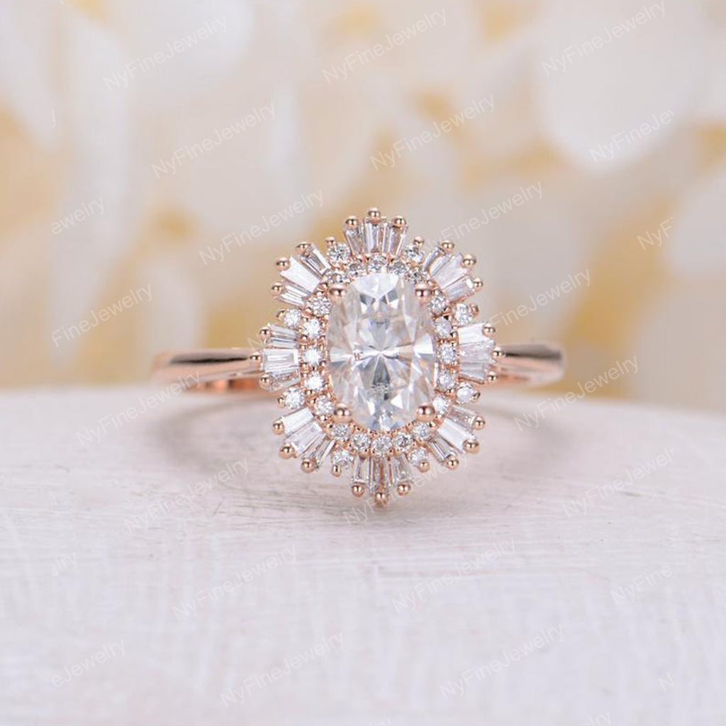 Vintage engagement ring woman rose gold halo diamond moissanite Oval cut  Antique wedding Unique Jewelry Anniversary Promise gift for her