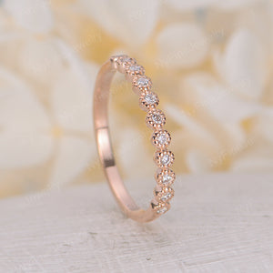 Vintage Rose gold wedding band half eternity band Moissanite ring Delicate stacking Bridal matching milgrain band promise anniversary