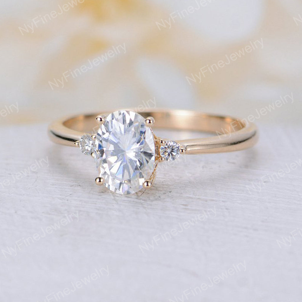 Moissanite Engagement Ring 14K gold Oval cut engagement ring Three stone wedding women Cluster Bridal Anniversary Promise gift for her