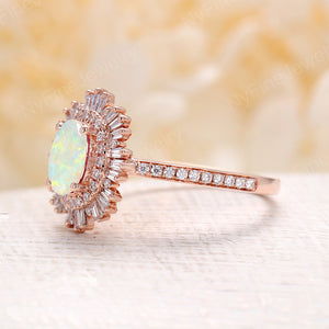Vintage opal engagement ring 14k rose gold diamond band oval cut engagement ring wedding  Anniversary