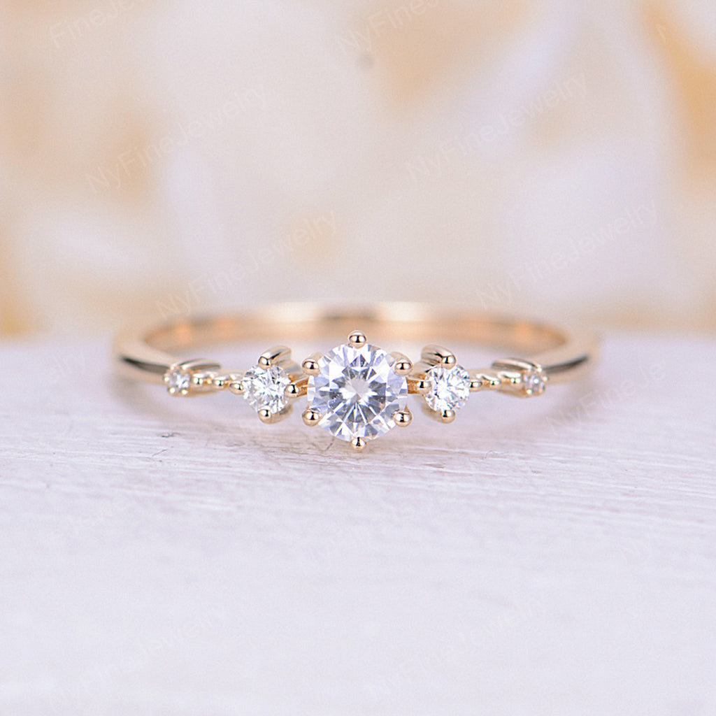 Moissanite engagement ring rose gold vintage engagement ring art deco unique cluster diamond wedding bridal Promise Anniversary ring