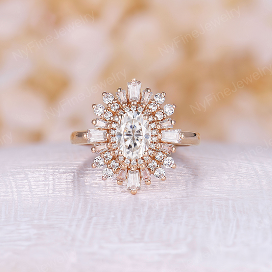 Art deco engagement ring alternative Diamond Ring Women Stackable Anniversary Rose gold Art deco Unique Promise Floral ring Bridal gift