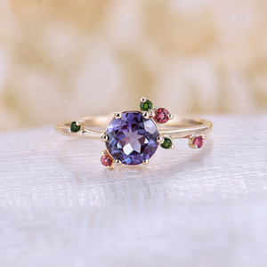 Alexandrite Engagement Ring Unique Engagement Ring Wedding Bridal Tourmaline Ring Vintage Yellow Gold Round Cut Anniversary Gift for Women
