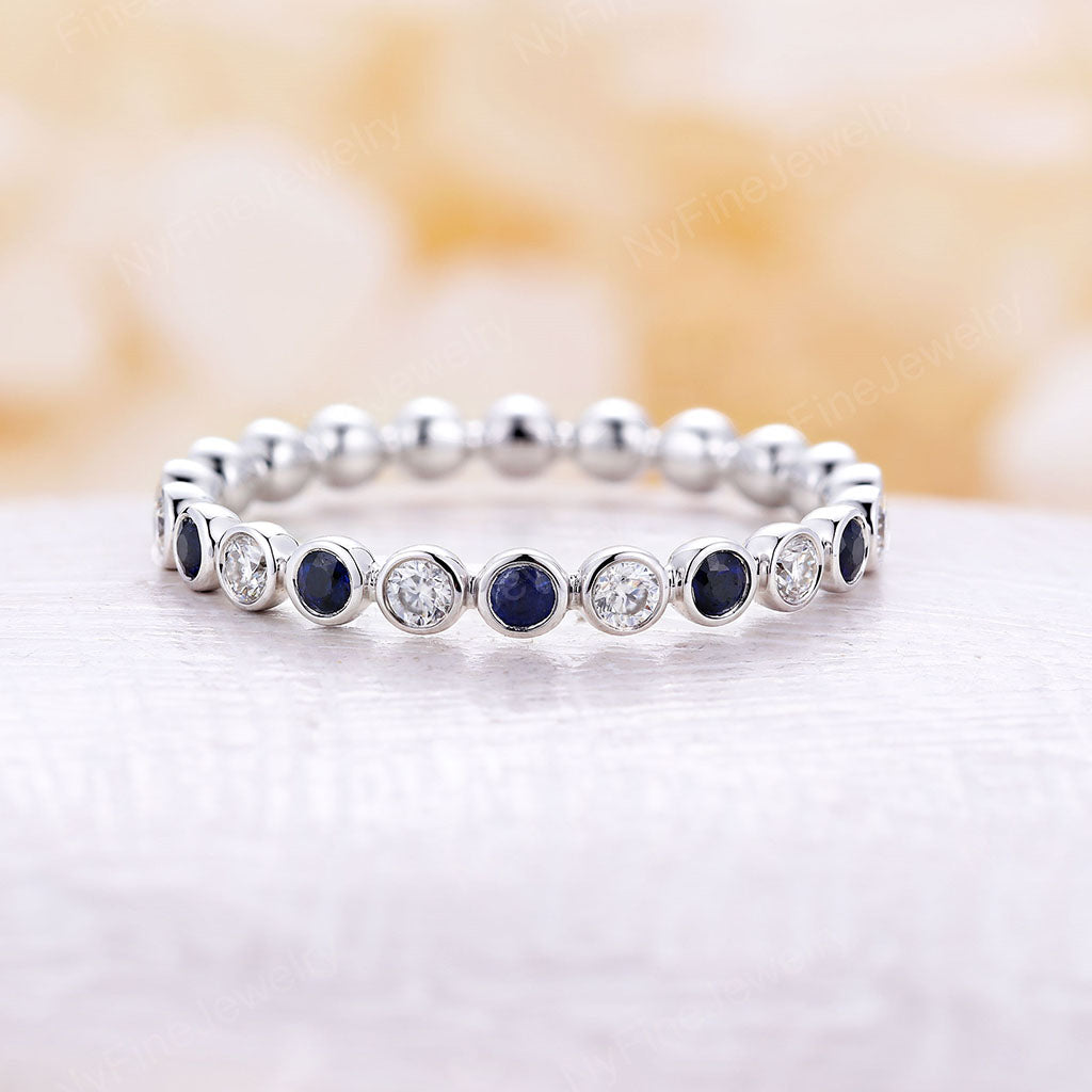Moissanite Wedding Band vintage Solid 14K White gold Sapphire Eternity Matching band Dainty Bridal Stacking Promise Anniversary Gift