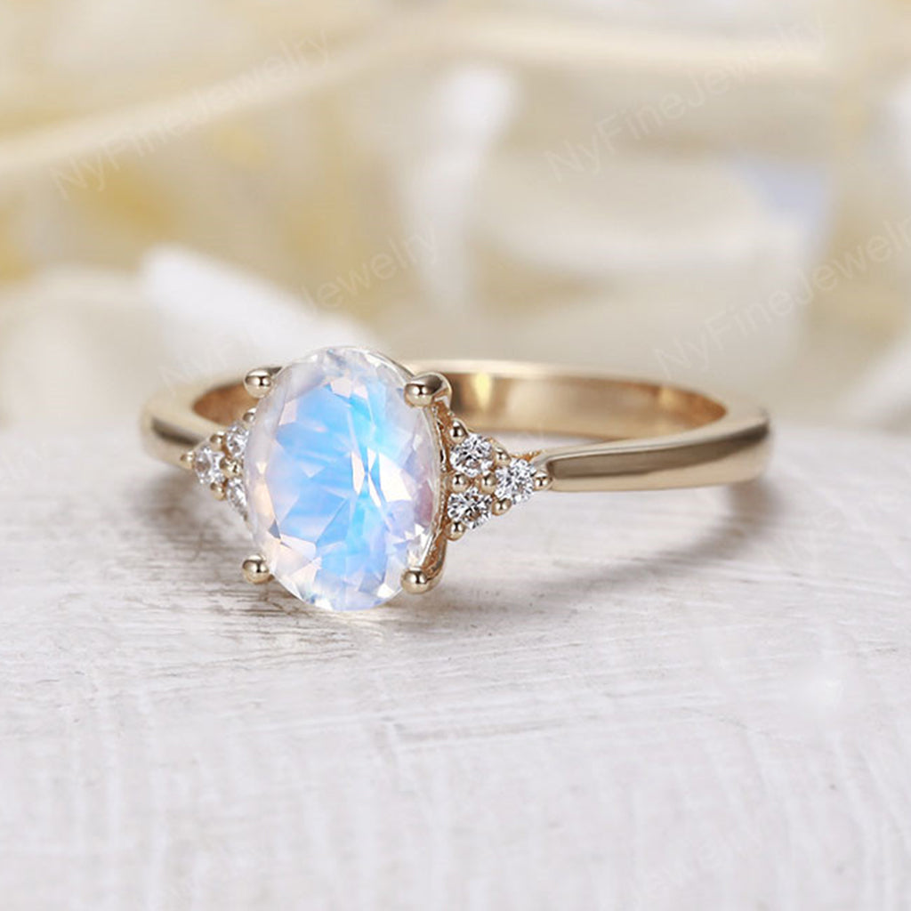Oval Moonstone engagement ring yellow gold Diamond cluster ring vintage Unique wedding  Bridal  Promise Anniversary