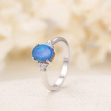 Opal engagement ring double opal ring White gold engagement ring blue opal Diamond ring vintage Unique wedding Bridal Anniversary gift