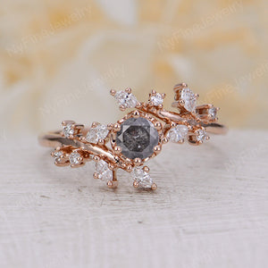 Salt and Pepper Diamond engagement ring Rose gold engagement ring Diamond Cluster ring Unique Delicate leaf wedding Bridal set Promise Anniversary Gift
