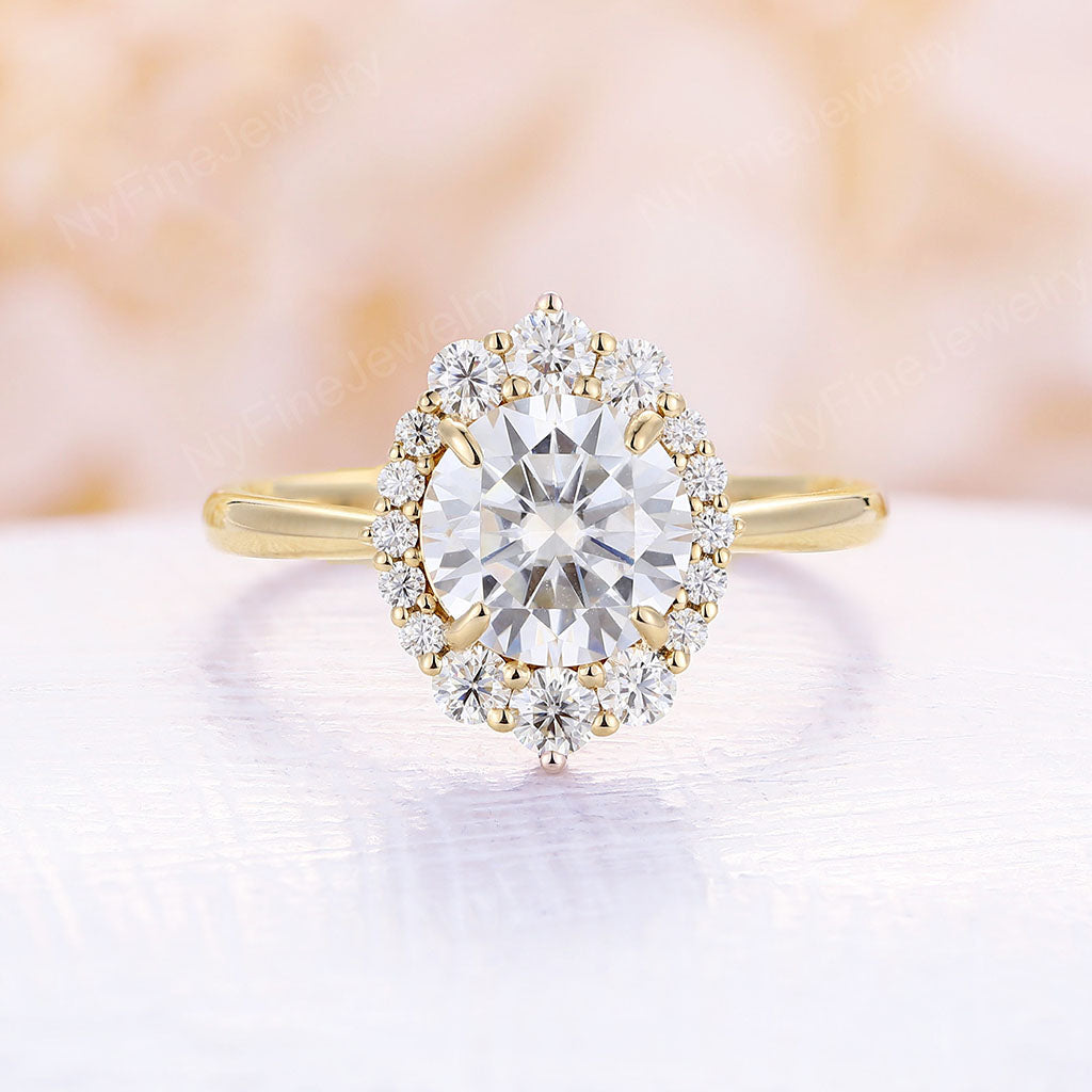 Moissanite engagement ring Vintage engagement ring round moissanite yellow gold band wedding antique Unique ring Anniversary gift platinum