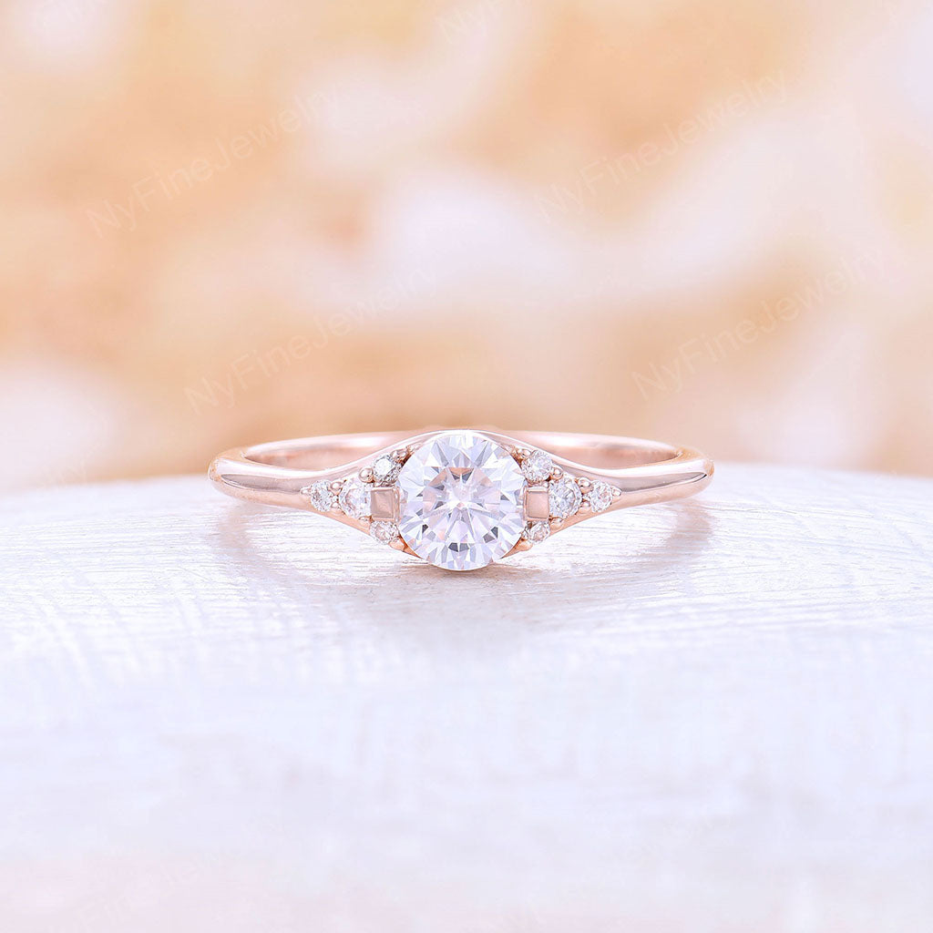 Moissanite Engagement Ring Unique Engagement Ring Wedding Bridal Halo Ring Vintage Rose Gold 14k Round Cut Anniversary Gift for Women