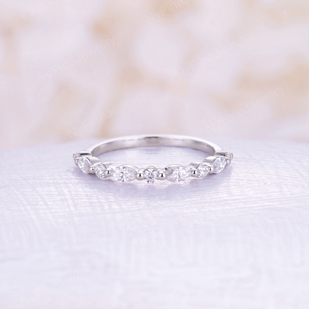 Moissanite wedding band white gold wedding band vintage Marquise cut moissanite stacking matching Unique half eternity Bridal Promise Gift