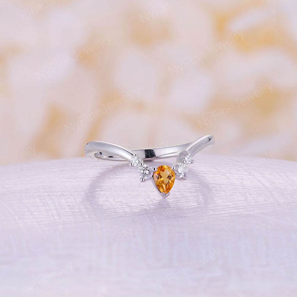 Curved Wedding Band matching band white gold band pear cut Citrine ring stacking matching Unique Bridal bands Promise Anniversary gift