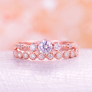Moissanite engagement ring rose gold Vintage Diamond wedding ring set Dainty antique Brilliant Bridal Half eternity Promise ring