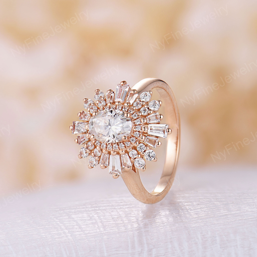 Vintage engagement ring Art deco Unique oval cut Moissanite engagement ring rose gold Halo Baguette stone ring Bridal Anniversary
