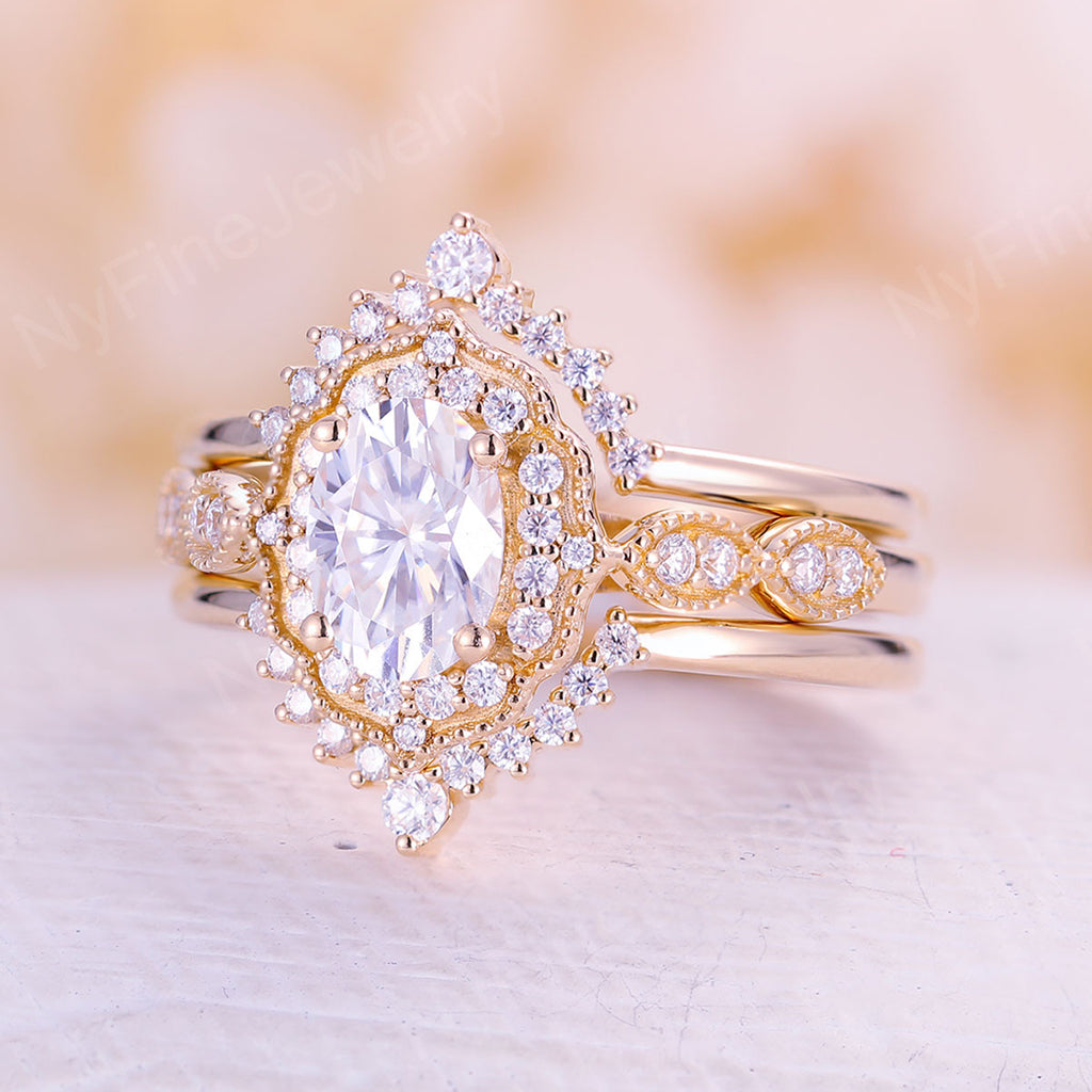 Oval cut moissanite engagement ring set, vintage wedding ring, yellow gold bridal set unique curved wedding band Anniversary