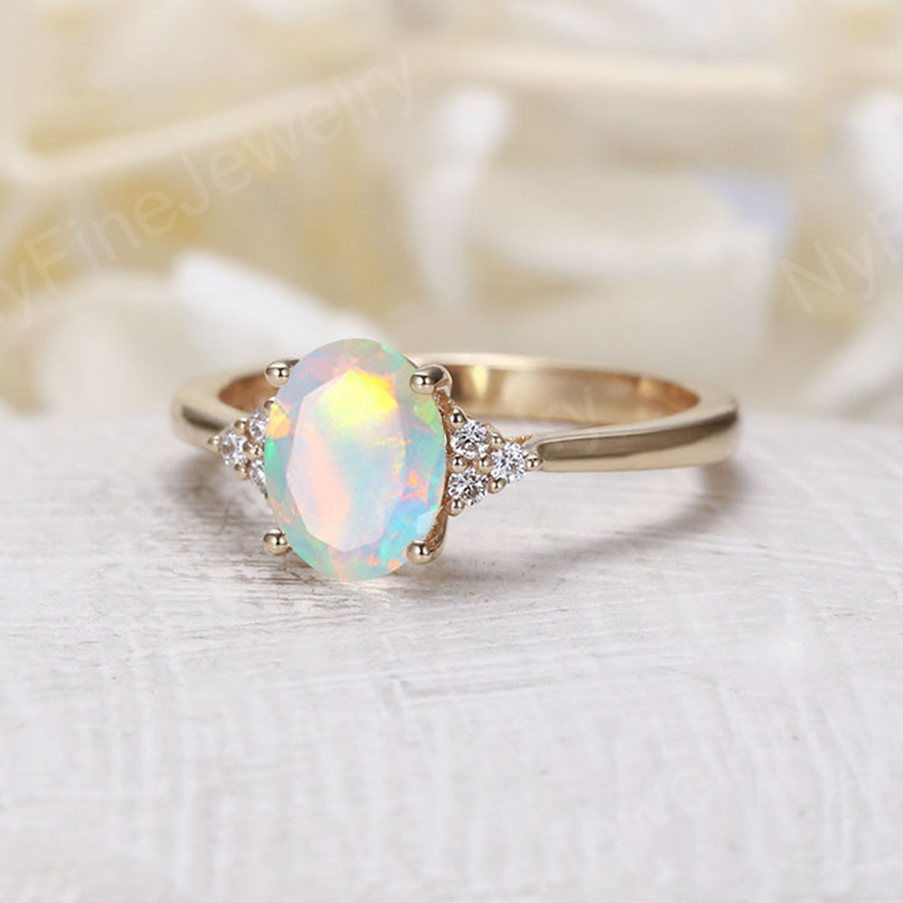 Oval faceted opal engagement ring yellow gold Diamond cluster ring vintage Unique wedding  Bridal  Promise Anniversary