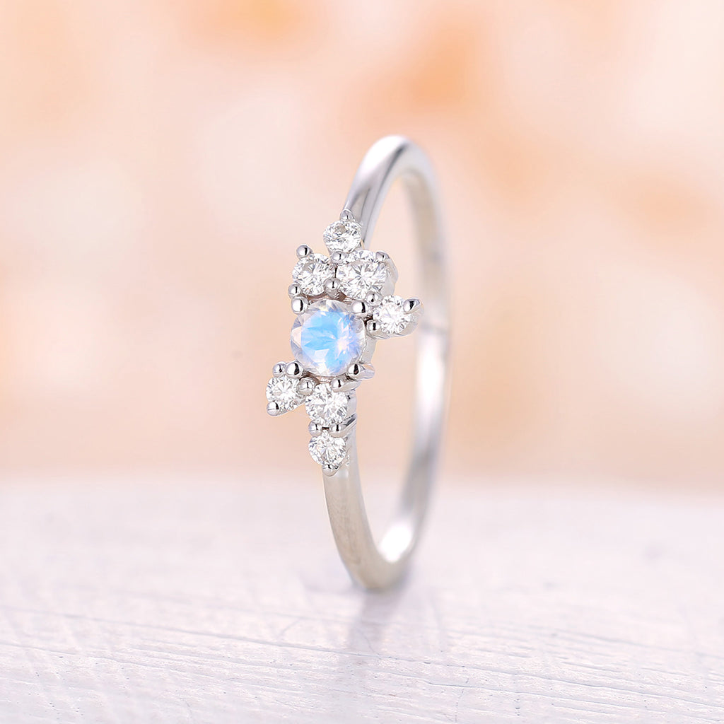 Moonstone engagement ring white gold engagement ring Simple Diamond Cluster ring wedding Bridal Set Multi stone Anniversary gift for women