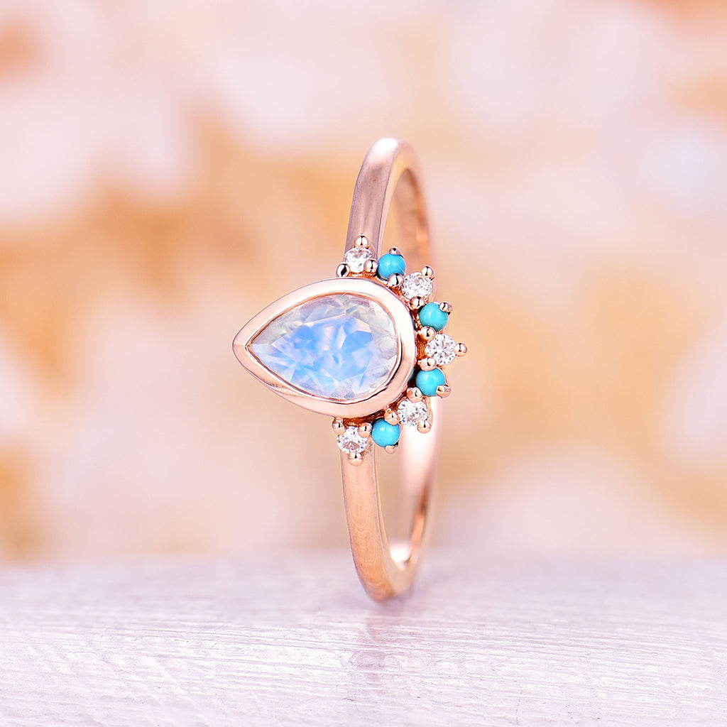 Unique Moonstone Engagement Ring Rose Gold Diamond engagement ring Vintage Turquoise Wedding Bridal set Pear Shaped Promise Anniversary ring