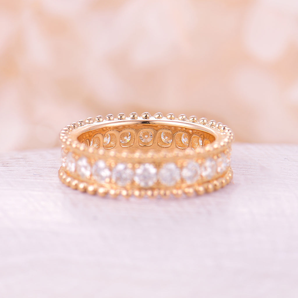 Unique Rose gold wedding band Vintage Delicate moissanite Eternity band Milgrain band Full Beaded Bridal Delicate Antique Anniversary ring