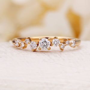 Diamond Cluster ring Twig engagement Ring Rose Gold Mini Floral Unique Wedding Women Bridal set Multi Gift Promise Anniversary ring