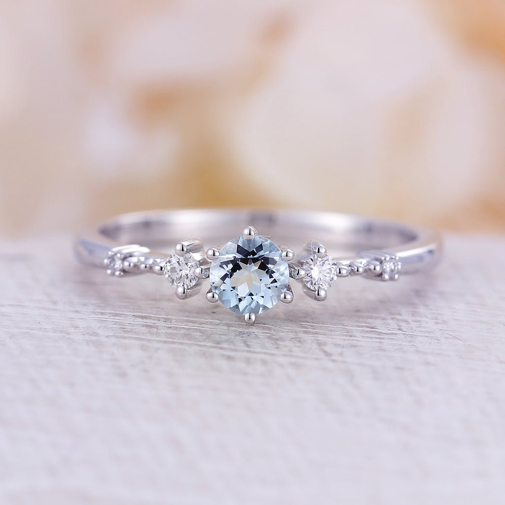 Aquamarine engagement ring vintage engagement ring white gold Diamond Cluster ring wedding Bridal Three stone Anniversary gift for women