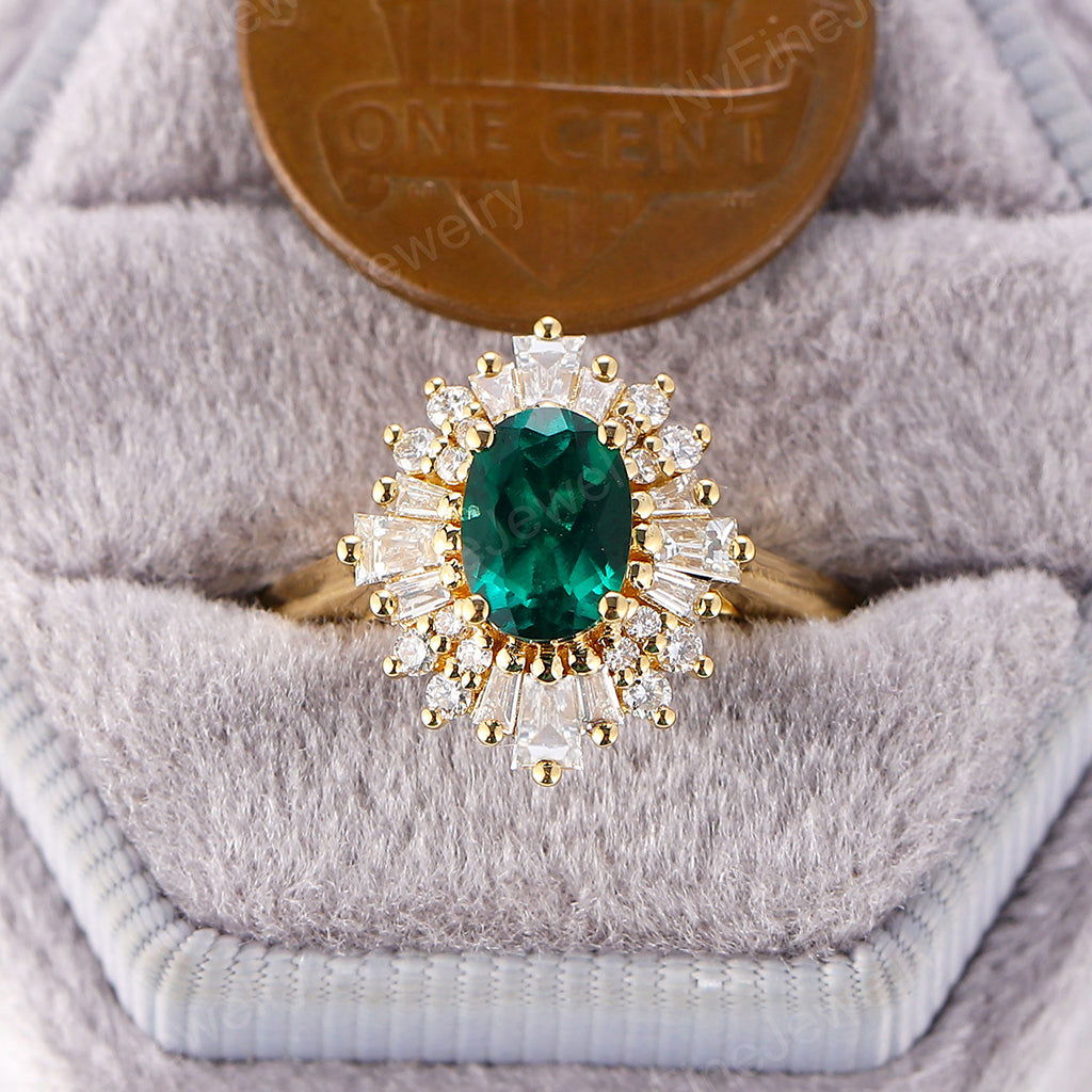 Emerald engagement ring vintage Art deco Oval Unique engagement ring yellow gold Halo Multi Baguette Flower Bridal Anniversary
