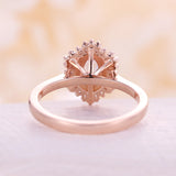 Peach Morganite engagement ring vintage engagement ring rose gold wedding Cluster Baguette Diamond Flower Anniversary