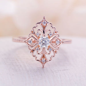 Moissanite engagement ring Vintage engagement ring 14k rose gold ring art deco round cut Unique Diamond wedding ring Bridal Anniversary