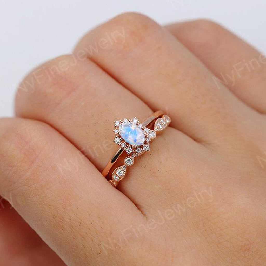 Vintage engagement ring set Oval cut moonstone engagement ring women rose gold band diamond halo wedding Bridal Anniversary Gift for her